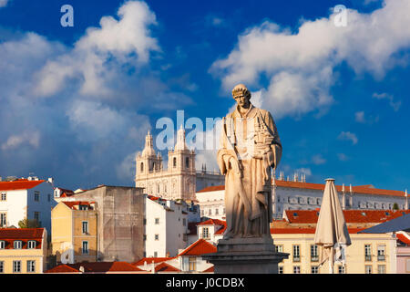 Statue of Saint Vincent, the patron saint of Lisbon - Stock Photo