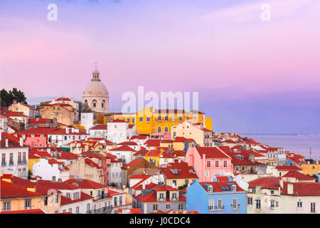 Alfama at scenic sunset, Lisbon, Portugal - Stock Photo