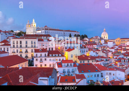 Alfama at night, Lisbon, Portugal - Stock Photo