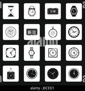 Clock icons set in simple style - Stock Photo