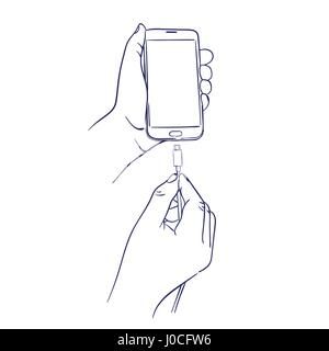 connect the charger to smart mobile phone - Stock Photo