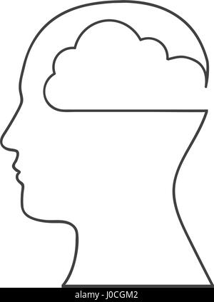 monochrome silhouette with human head with cloud inside - Stock Photo