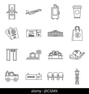 Airport icons set, outline style - Stock Photo
