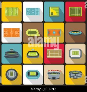 Sport stadium icons set, flat style - Stock Photo