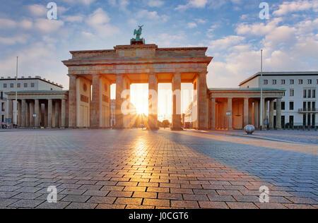 Berlin - Brandenburg Gate at sunrise, Germany - Stock Photo