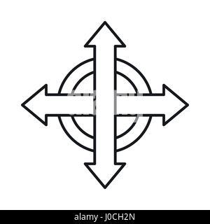 Cross arrows icon, outline style Stock Vector Art
