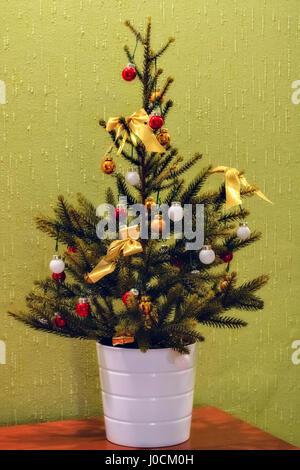 Christmas tree in green pot on wood surface, blue background, mouse ...