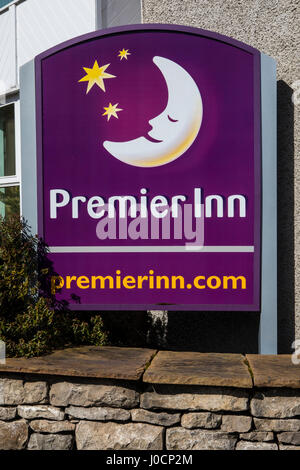 KENDAL, UK - APRIL 4TH 2017: The Premier Inn logo outside their hotel in Kendal, UK, on 4th April 2017. - Stock Photo