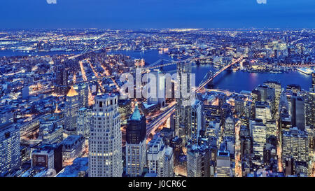 Elevated view of Mid-town Manhattan at dusk, New York, USA - Stock Photo