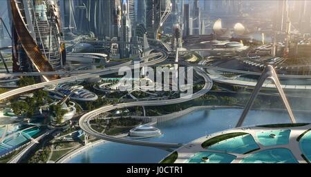FUTURISTIC CITY TOMORROWLAND; TOMORROWLAND: A WORLD BEYOND (2015) - Stock Photo