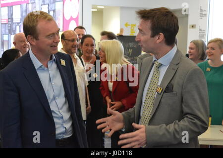 Tim Farron MP & Cllr. John Leech lead a pro-EU rally during a visit to the IN/OUT Euro Tunnel at the People's History - Stock Photo
