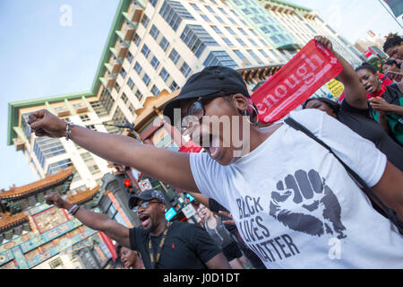 Washington, District Of Columbia, USA. 10th July, 2016. Protesters from Black Lives Matter block traffic in China - Stock Photo