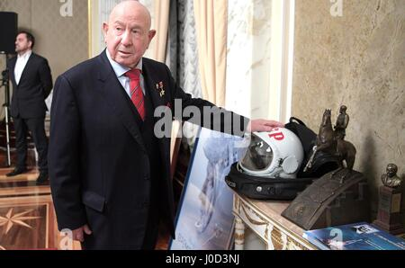Moscow, Russia. 12th Apr, 2017. April 12, 2017. - Russia, Moscow. - Cosmonaut Aleksey Leonov before a screening of 'The Spacewalker' attended by Russian President Vladimir Putin. Credit: Russian Look Ltd./Alamy Live News