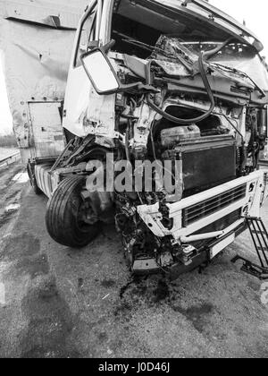March 26, 2017 - Cabin of a truck injured during an accident Credit: Igor Golovniov/ZUMA Wire/Alamy Live News - Stock Photo