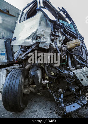 Cabin of a truck injured during an accident. 26th Mar, 2017. Credit: Igor Golovniov/ZUMA Wire/Alamy Live News - Stock Photo