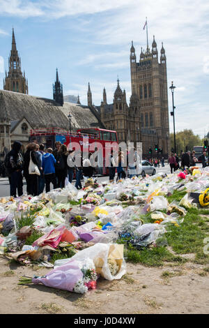 London, UK - April 11th, 2017: Memorial in front of the Houses of Parliament, to the 6 dead and 49 injured from - Stock Photo