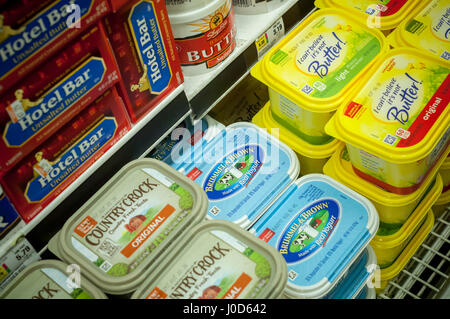 Tubs of  Unilever spreads in a supermarket cooler on Saturday, April 8, 2017. Unilever recently announced that it - Stock Photo