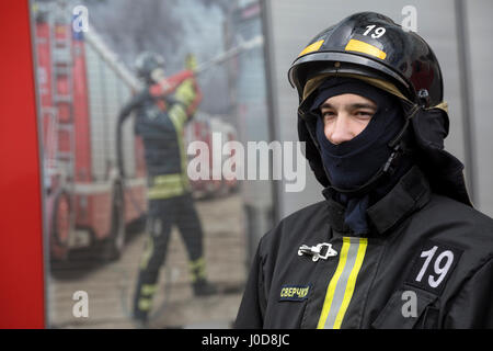 Moscow, Russia. 12th Apr, 2017. Emergencies Ministry's fire drill at CSKA Arena in Moscow Credit: Nikolay Vinokurov/Alamy - Stock Photo