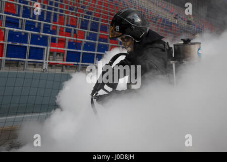 Moscow, Russia. 12th Apr, 2017. Emergencies Ministry's fire drill at CSKA Arena in Moscow Credit: Nikolay Vinokurov/Alamy Live News