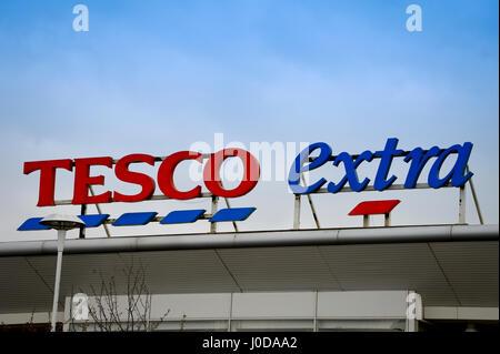 Tesco Extra supermarket sign - Stock Photo