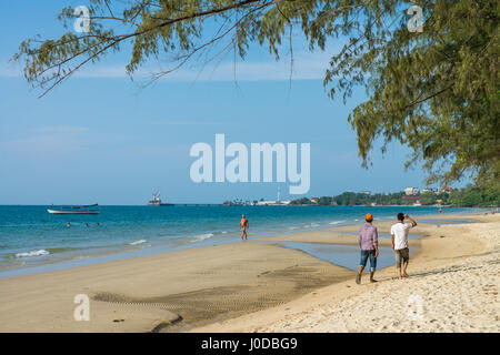 People on the Hawaii Beach in the Sihanouk , Cambodia, Asia. - Stock Photo