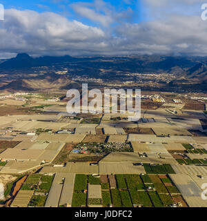 Aerial view of Tenerife. View from airplane window - Stock Photo