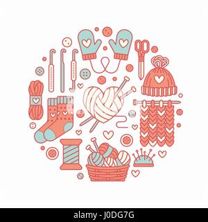 Knitting, crochet, hand made banner illustration. Vector line icon knitting needle, hook, scarf, socks, pattern, - Stock Photo