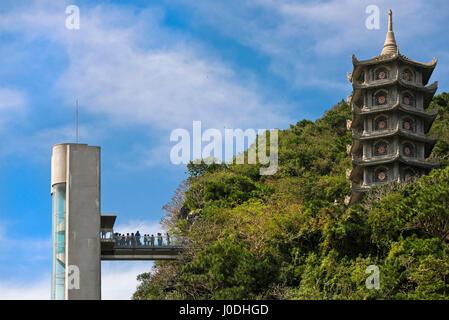 Horizontal view of the marble Mountain entrance near Da Nang, Vietnam - Stock Photo
