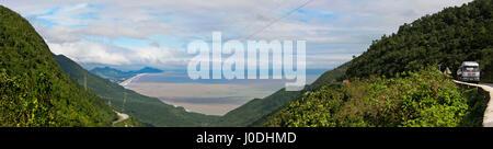 Horizontal panoramic view of the Hai Van Pass, Vietnam - Stock Photo