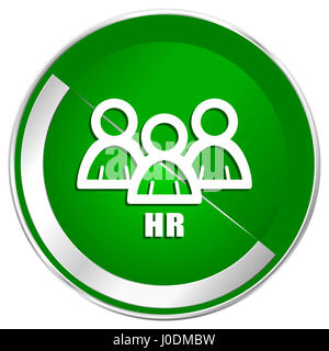 HR silver metallic border green web icon for mobile apps and internet. - Stock Photo