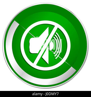 Mute silver metallic border green web icon for mobile apps and internet. - Stock Photo