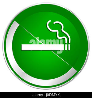 Cigarette silver metallic border green web icon for mobile apps and internet. - Stock Photo