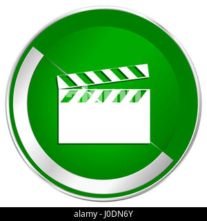 Video silver metallic border green web icon for mobile apps and internet. - Stock Photo