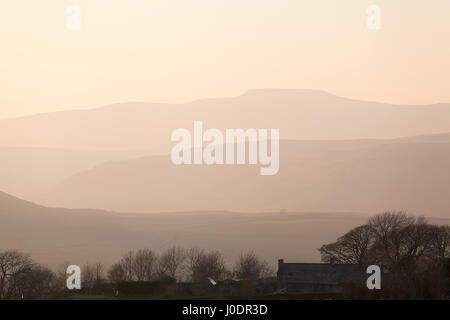 Sunset over Ingleborough as seen from Upper Winskill in the Yorkshire Dales.