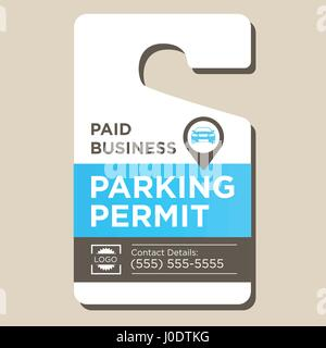 Paid Business Parking Permit Hangtag - Stock Photo