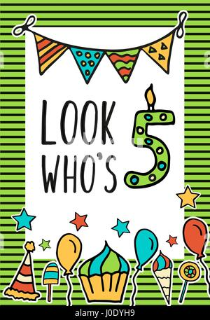 Birthday Kids vector card - Stock Photo