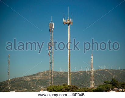 Europe, Spain, Algeciras Area, View Of Communications Tower With Antennas And Aerials - Stock Photo