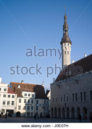 Europe, Estonia, Tallinn, Old Town Square, View Of Buildings And Architecture With Holy Spirit Church Spire (1320) - Stock Photo