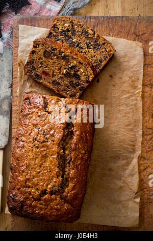 Barmbrack traditional Irish teacake made for Halloween - Stock Photo