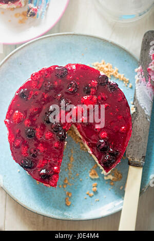 Berry cheesecake on shortcrust pastry - Stock Photo