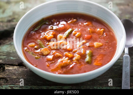 Italian canned tomato soup - Stock Photo