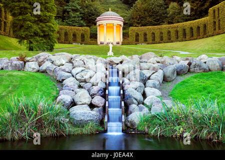 Garden with temple, Neuer Tiergarten Kleve, Niederrhein, North Rhine-Westphalia, Germany - Stock Photo