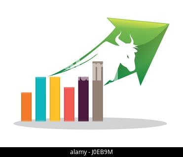 financial concept bull chart arrow - Stock Photo