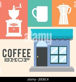 coffee shop detailed facade poster - Stock Photo