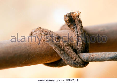 Africa, East Africa, Kenya, View Of African Knotted Leather Detail On Bowstring (Found By Explorer, Year 2000) - Stock Photo