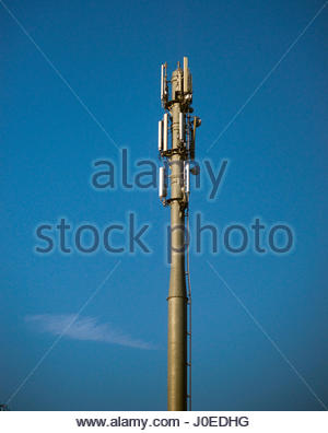 Europe, Belgium, Brussels, View Of Communications Tower With Antennas And Aerials - Stock Photo