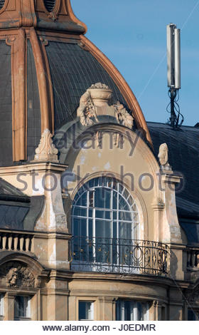 Europe, Czech Republic, Prague, View Of Architecture And Buildings With Modern Cell Phone Antenna - Stock Photo