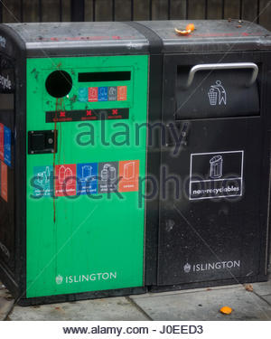 Europe, Uk, England, London, North London Area, View Of Recycling Bins - Stock Photo