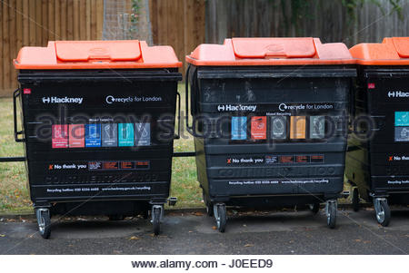 Europe, Uk, England, London, North London Area, Queens Drive Area, View Of Recycling Bins - Stock Photo