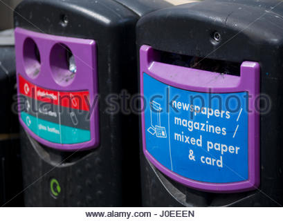 Europe, Uk, England, London, View Of Recycling Bins - Stock Photo